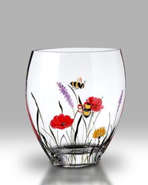 Bees & Poppy 21cm Curve Vase