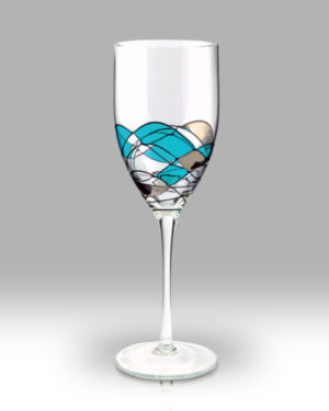 Teal Mosaic 24cm Wine Pair