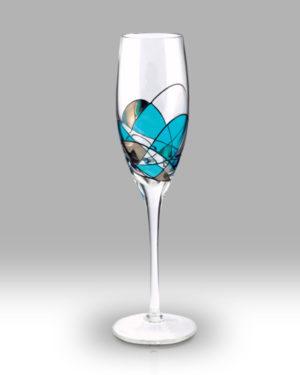 Teal Mosaic 25cm Champagne Pair