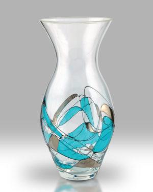 Teal Mosaic 31cm Tulip Vase