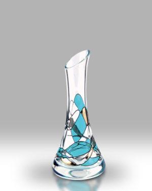 Teal Mosaic 17cm Angled Bud Vase