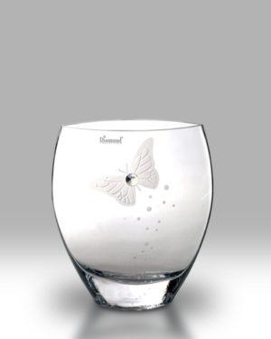 Crystal Diamond Butterfly 21cm Curved Vase
