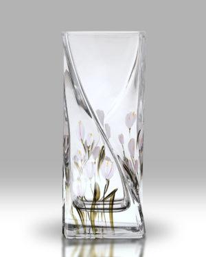 Crocus – Lotus White 20cm Twist Vase