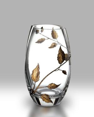 Gold Leaf 20cm Round Vase
