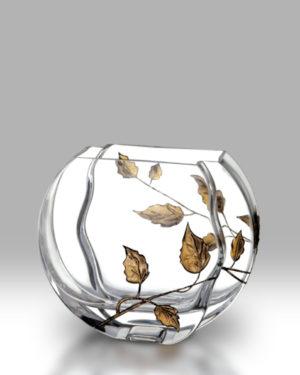 Gold Leaf 16cm Circle Vase
