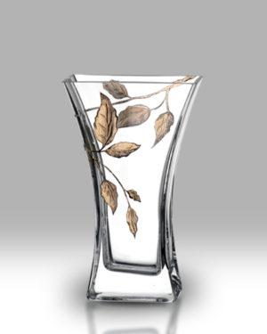 Gold Leaf 23cm Flat Flared Vase
