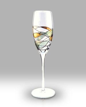 Gold Mosaic 25cm Champagne Pair