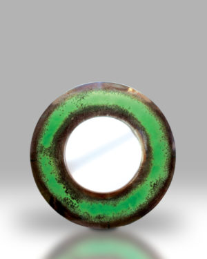 Round Mirror – Green Rustic