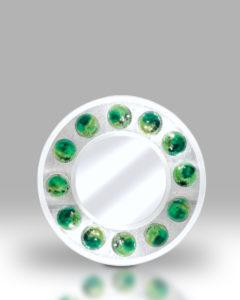 Round Mirror – Green Dots