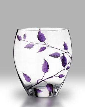 Purple Leaf 21cm Curved Vase