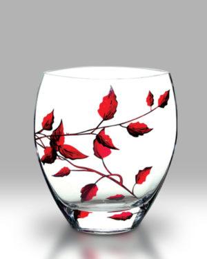 Ruby Leaf 21cm Curved Vase
