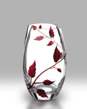 Ruby Leaf 20cm Round Vase