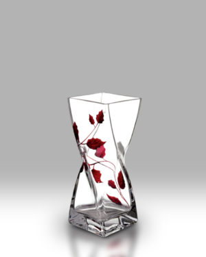 Ruby Leaf 20cm Twist Vase