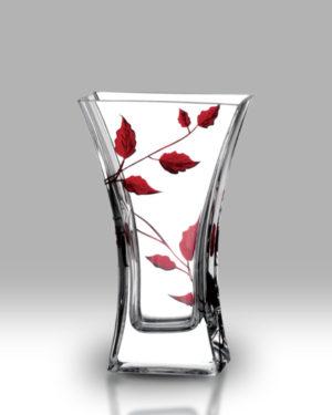 Ruby Leaf 23cm Flat Flared Vase