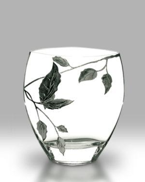 Silver Leaf 21cm Curved Vase
