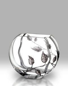 Silver Leaf 16cm Circle Vase