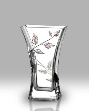 Silver Leaf 23cm Flat Flared Vase