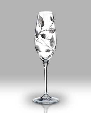 Silver Leaf 25cm Champagne Pair