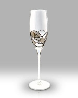 Silver Mosaic 25cm Champagne Pair
