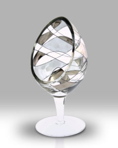 Silver Mosaic 21cm Large Candle Holder