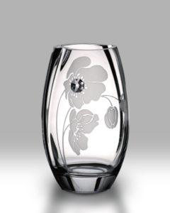 Crystal Diamond Poppy 20cm Round Vase