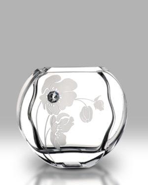 Crystal Diamond Poppy 16cm Circle Vase